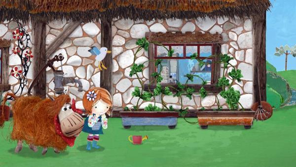 Erschrocken sehen Lily und Barne, wie schnell die Petersilie wächst.  | Rechte: KiKA/Sixteen South