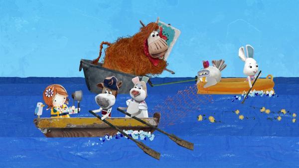 Alle Bewohner eilen Barne zu Hilfe und fischen seinen Löwenzahn aus dem Meer.  | Rechte: KiKA/Sixteen South