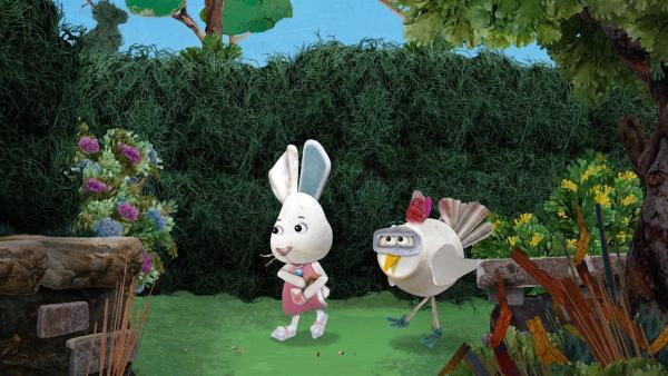 Jette und Flöckchen legen eine Krümelspur im Labyrinth, um sich nicht auch zu verlaufen und die anderen zu retten.  | Rechte: KiKA/Sixteen South