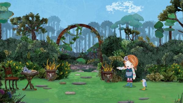 Lily und Puffin suchen im Schlossgarten nach Lord Hirsch.   | Rechte: KiKA/Sixteen South