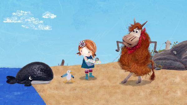 Lily, Barne und Pelle spielen Stopptanz mit ihrem neuen Freund, dem kleinen Wal Willie. | Rechte: KiKA/Sixteen South