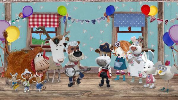Lily und die Bewohner von Strandschatz Eilandsind begeistert von Tom und Salty. <br/> | Rechte: KiKA/Sixteen South