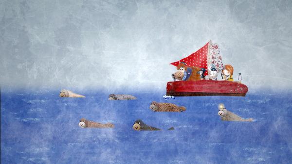Die Robben führen Lily und ihre Freunde auf der Delilah durch den Nebel zur Insel, wo sie Salty vergessen haben. | Rechte: KiKA/Sixteen South