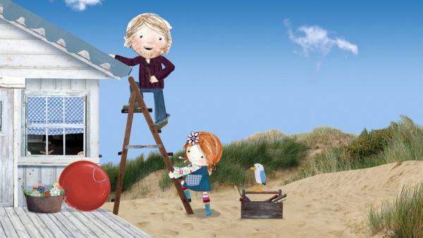 """Lily glaubt zu alt zu sein, um auf Strandschatz Eilandzu spielen und hilft stattdessen ihrem Papa bei einer """"Erwachsenenarbeit"""".   Rechte: KiKA/Sixteen South"""