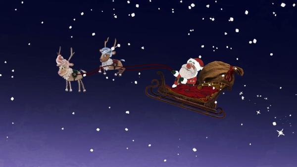 Der nächste Halt für den Weihnachtsmann auf seinem Schlitten ist Strandschatzeiland.   Rechte: KiKA/Sixteen South