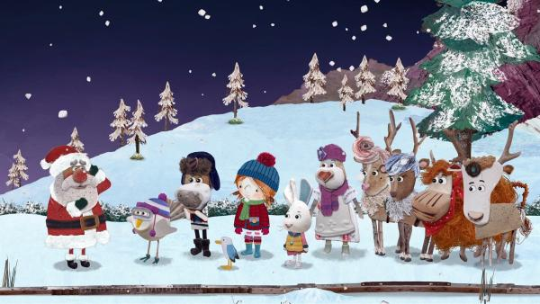 Dem Weihnachtsmann brummt der Schädel, alle wollen ihn für sich, um ihm zu sagen, was sie sich zu Weihnachten wünschen.   Rechte: KiKA/Sixteen South