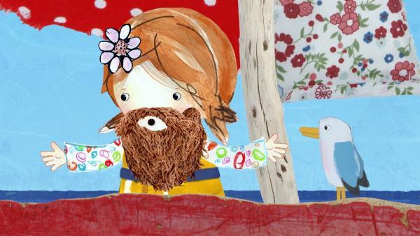Weil heute Sankt Schalottentag ist, trägt Lily wie Salty einen Bart.  | Rechte: KiKA/Sixteen South