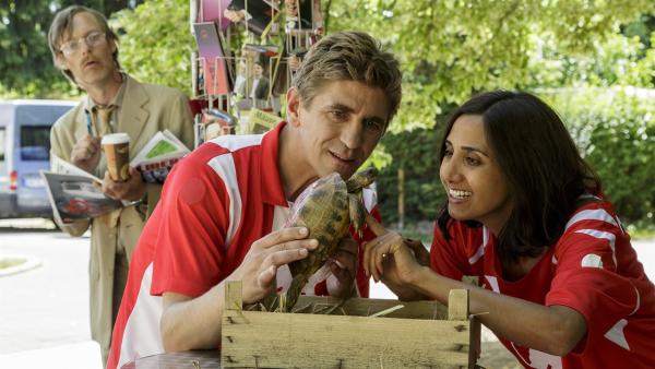 Fritz Fuchs (Guido Hammesfahr) zeigt Yasemins Schwester Banu (Narges Rashidi) die gefundene Schildkröte. Wem mag sie gehören? Ein Unbekannter (Michael Specht) scheint sich auf für das Tier zu interessieren. | Rechte: ZDF/Antje Dittmann