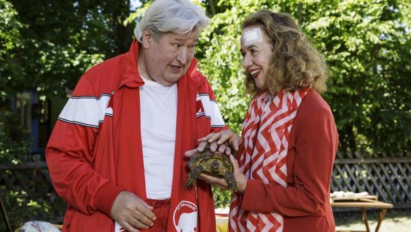 Nachbar Paschulke (Helmut Krauss) ist Schildkröte Bertha dankbar. Sie hat seinen neue Bekannte Frau Erika (Klara Höfels) gerettet. | Rechte: ZDF/Antje Dittmann