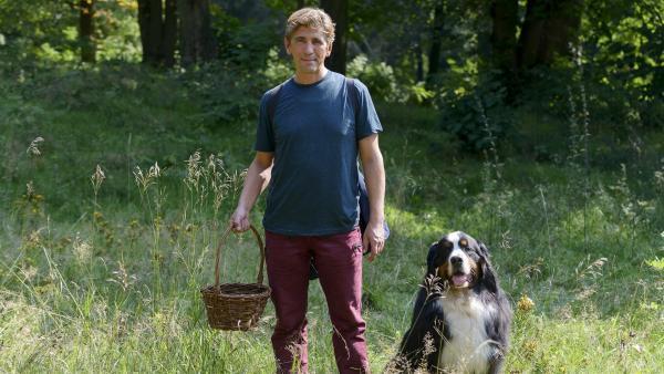 Bevor sich Fritz (Guido Hammesfahr) zur großen Pilzsuche aufmacht, verschafft er sich mit seinem Hund Keks erst einmal einen Überblick im Wald. | Rechte: ZDF/Antje Dittmann