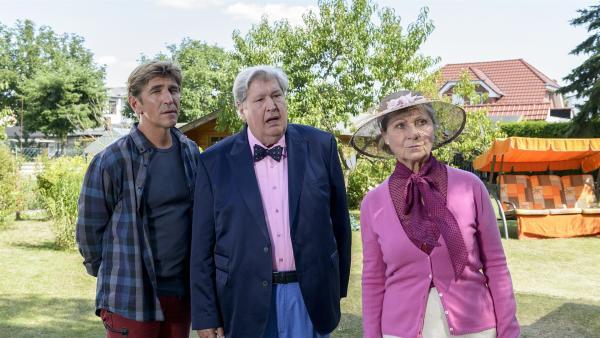 Fritz Fuchs (Guido Hammesfahr, l.), Nachbar Paschulke (Helmut Krauss, M.) und Mutti Kluthe (Margot Nagel, r.) staunen nicht schlecht, als sie merken, was hinter der Fliegenplage stecken könnte. | Rechte: ZDF/Antje Dittmann