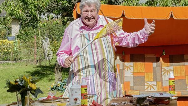 Nachbar Paschulke (Helmut Krauss) weiß nicht mehr weiter. Überall in seinem Garten wimmelt es nur so von Fliegen. Mit Fliegenklatsche und Giftspray ausgerüstet, versucht er seine Kaffeetafel zu retten. | Rechte: ZDF/Antje Dittmann