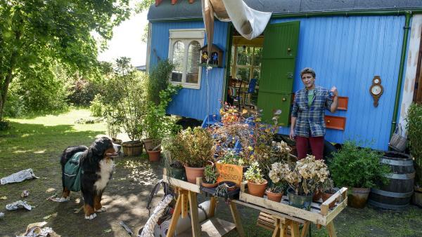 Der Nachbar sollte während Fritz Fuchs' (Guido Hammesfahr) Urlaub eigentlich auf den Bauwagen und die Blumen aufpassen. Fritz ist sauer über das Chaos, das ihn empfangen hat.   Rechte: ZDF/Antje Dittmann