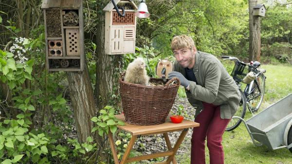 Fritz Fuchs (Guido Hammesfahr) ist schon ganz übernächtigt, weil eines der Tierbabys immer gefüttert werden muss. Ob der junge Uhu mit einer Attrappe zum Futtern zu bewegen ist? | Rechte: ZDF/Ole Schwarz