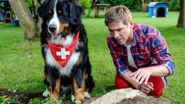 Fritz Fuchs (Guido Hammesfahr) und sein Hund Keks sind aus dem Urlaub zurück und finden den Garten aufgewühlt vor. Wer hat in Fritz' Garten sein Unwesen getrieben? | Rechte: ZDF/Antje Dittmann