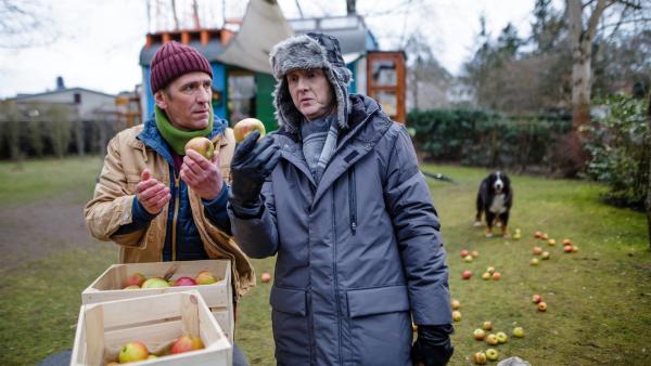 Fritz (Guido Hammesfahr, l.) weiß, seine Äpfel sind etwas Kostbares. Herr Kluthe (Holger Handtke, r.) hält das für Unsinn und will alle Äpfel kaputt schneiden. | Rechte: ZDF/Andrea Hansen Fotografie
