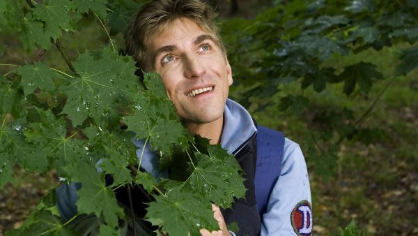 Fritz Fuchs (Guido Hammesfahr) hält Ausschau im Gehölz: Wo könnte er die nächste Aufgabe der Schnitzeljagd verstecken? | Rechte: ZDF/Antje Dittmann