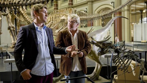 Fritz Fuchs (Guido Hammesfahr) präsentiert seinem Freund Julius (Jörg Schüttauf) den selbst ausgegrabenen Mini-Dino. Das wird die neue Sensation für das Naturkundemuseum. Oder?   Rechte: ZDF/Antje Dittmann