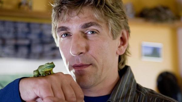 Ein Frosch sitzt auf einem grünen Blatt. | Rechte: ZDF