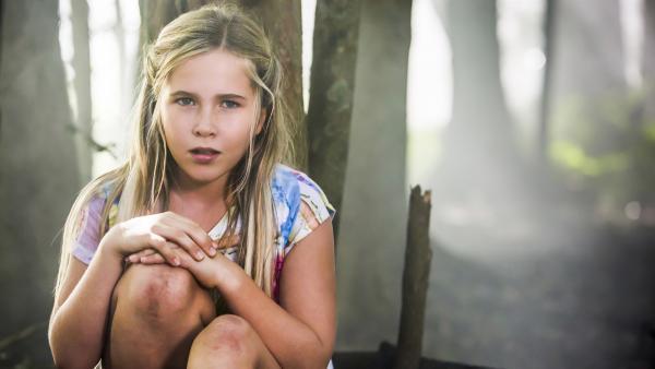 Meerjungfrauenschülerin Amaris (Emily Robinson) versteckt sich vor Chris und Karl im Wald.   Rechte: ZDF/Jonathan M. Shiff Prod./Vince Valitutti