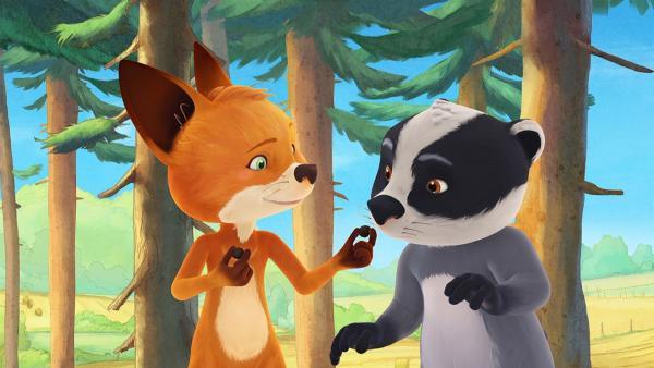 Rosie und Luis erkunden mit Oma Fuchs den Wald. | Rechte: WDR/Mediatoon