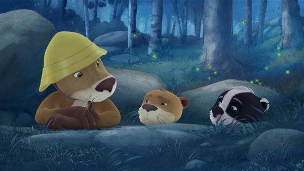 Lukas übernachtet mit seinem Sohn Udo und dem Dachsjungen Luis im Wald. | Rechte: WDR/Mediatoon