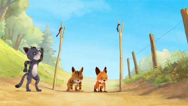 Rosie und Nero wollen in einem Rennen herausfinden, wer von beiden schneller läuft. | Rechte: WDR/Mediatoon