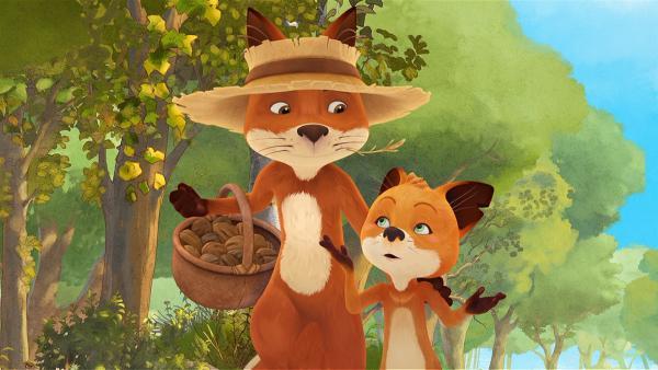 Rosie hofft, dass ihr Vater Bruno einen Tipp hat, wie sie den Nuss-Dieb finden kann. | Rechte: WDR/Mediatoon