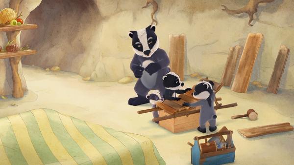 Die Kinder sind begeistert, Edmund und Margret haben ein tolles Holzinstrument gebaut. | Rechte: WDR/Mediatoon