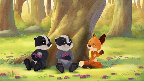 Auf der Suche nach Opas Schatz machen Luis, Matteo und Rosie eine Pause. | Rechte: WDR/Mediatoon