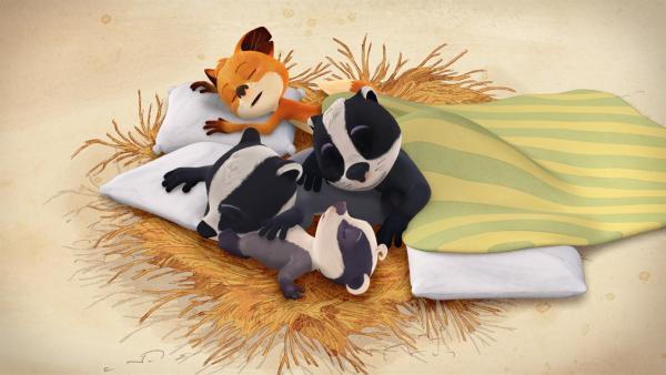 Friedlich schlafen die Geschwister auf einem Strohbett ein.   Rechte: WDR/Mediatoon