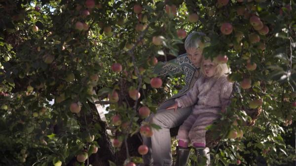 Dann pfeifen beide zusammen ein Lied im Apfelbaum. | Rechte: KiKA