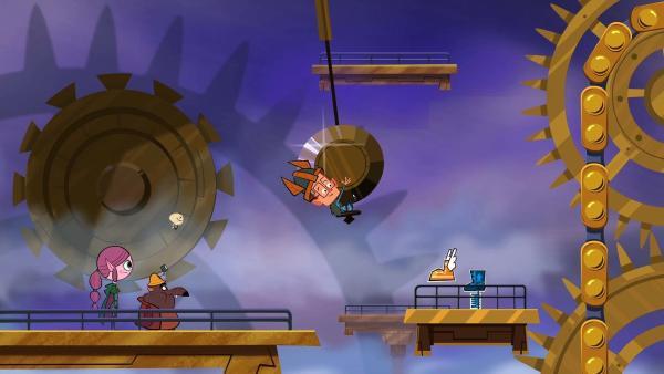 Behende klettert Marcus (rechts) im riesigen Räderwerk der Uhr nach oben. | Rechte: © ZDF/Mondo TV France