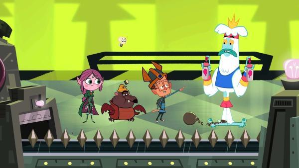 Marcus (2.von rechts) hat den König der Mondschlurfer (rechts) befreit, doch der ist darüber gar nicht glücklich, denn er liebt es, die Schokobongos rosa zu lackieren. | Rechte: © ZDF/Mondo TV France