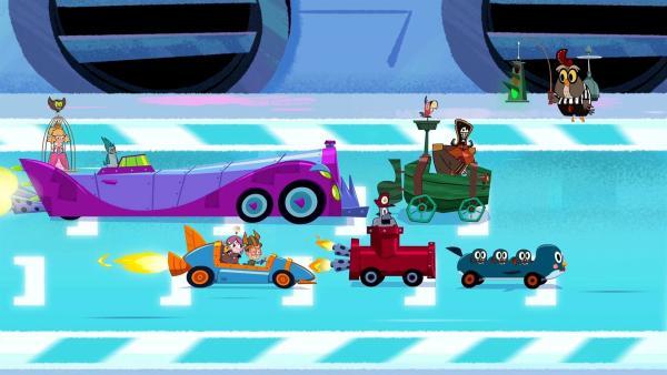 Das Team von Marcus (im blauen Auto) und seine Konkurrenten beim Start des Rennens.   Rechte: © ZDF/Mondo TV France
