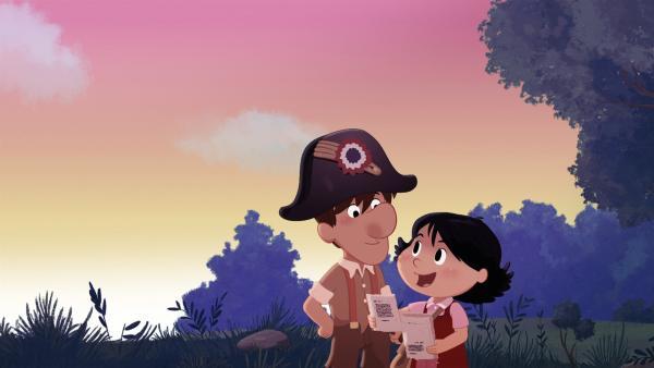 Marinette und Jacques haben einen Schatz gefunden. | Rechte: NDR/2 Minutes