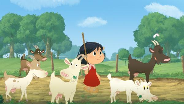 Marinette soll die Ziegen auf die Weide führen. | Rechte: NDR/2 Minutes