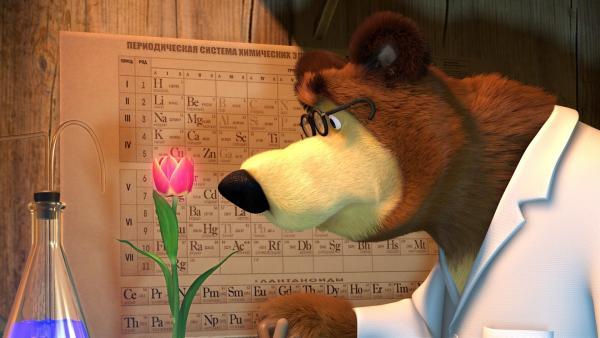 Der Bär hat eine Formel gefunden, verwelkte Blumen wieder zum Blühen zu bringen.   Rechte: KiKA/2014-2015 Animaccord Ltd.