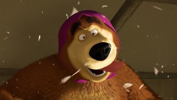 Der Bär ist auf den Kopf gestürzt. Seitdem spielt er verrückt.  | Rechte: KiKA/2014-2015 Animaccord Ltd.