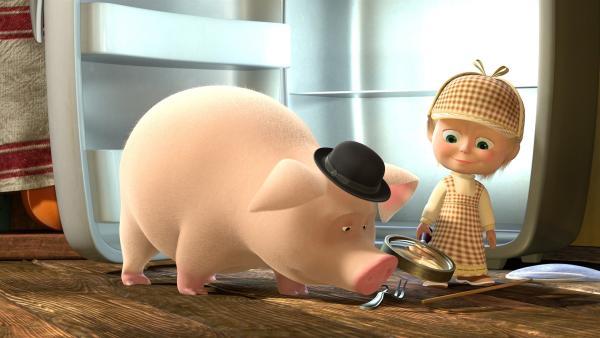 Detektiv Mascha  und das Schwein suchen nach Spuren. | Rechte: KiKA/2014-2015 Animaccord Ltd.