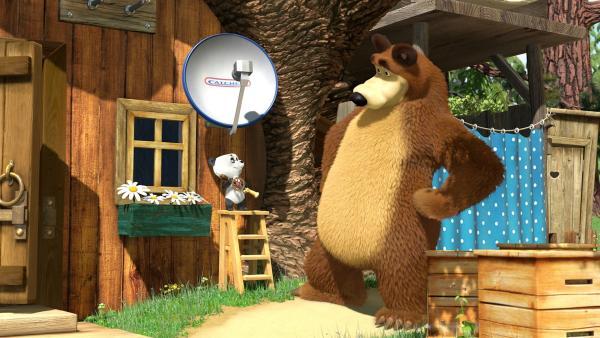 Der kleine Panda und der Bär haben die Antenne am Haus angebracht.   Rechte: KiKA/2014-2015 Animaccord Ltd.