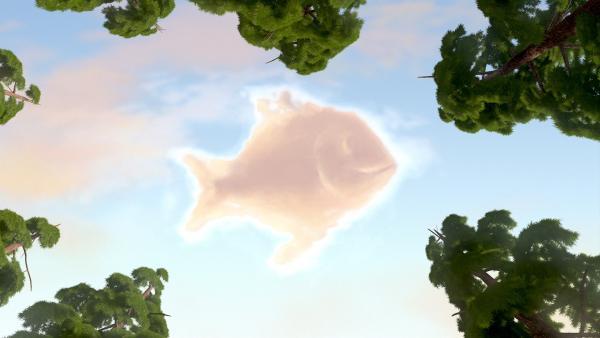 Die Wolke sieht aus wie ein Fisch.  | Rechte: KiKA/Masha and the Bear Limited