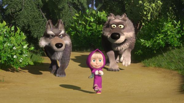 Die Wölfe verfolgen Mascha, ohne dass sie es bemerkt.   | Rechte: KiKA/Masha and the Bear Limited