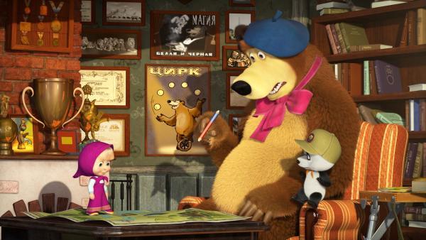 Mascha, der Bär und Panda planen einen Ausflug in den Wald, um dort besonders malerische Plätze zu finden. | Rechte: KiKA/Animaccord LTD