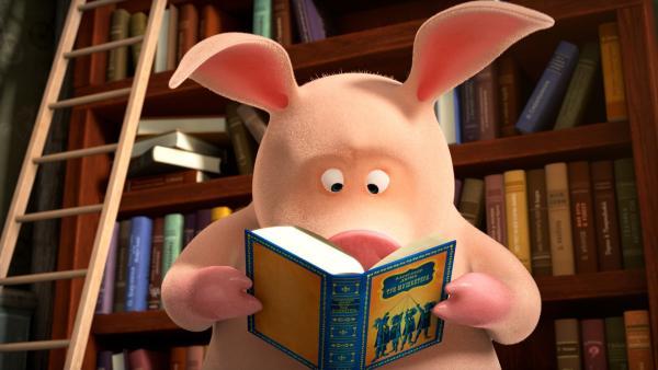 """Das Schwein liest """"Die drei Musketiere"""".   Rechte: KiKA/Animaccord LTD"""
