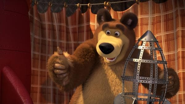 Der Bär und das Raketenmodell.    Rechte: KiKA/Animaccord LTD