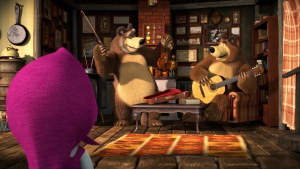 Der Bär und sein Papa wollen Musik machen - wie Früher.    Rechte: KiKA/Animaccord LTD