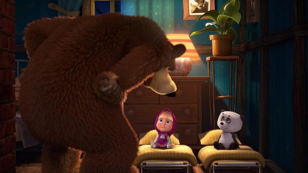Der Bär knöpft sich Mascha und Panda vor.    Rechte: KiKA/Animaccord LTD