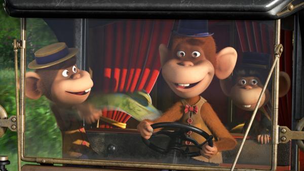 Im Auto der Affenbande.   Rechte: KiKA/Animaccord LTD