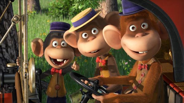 Die Affen entdecken etwas.  | Rechte: KiKA/Animaccord LTD